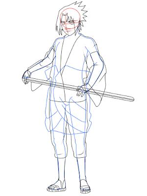cara menggambar Sasuke Hebi tahap 17