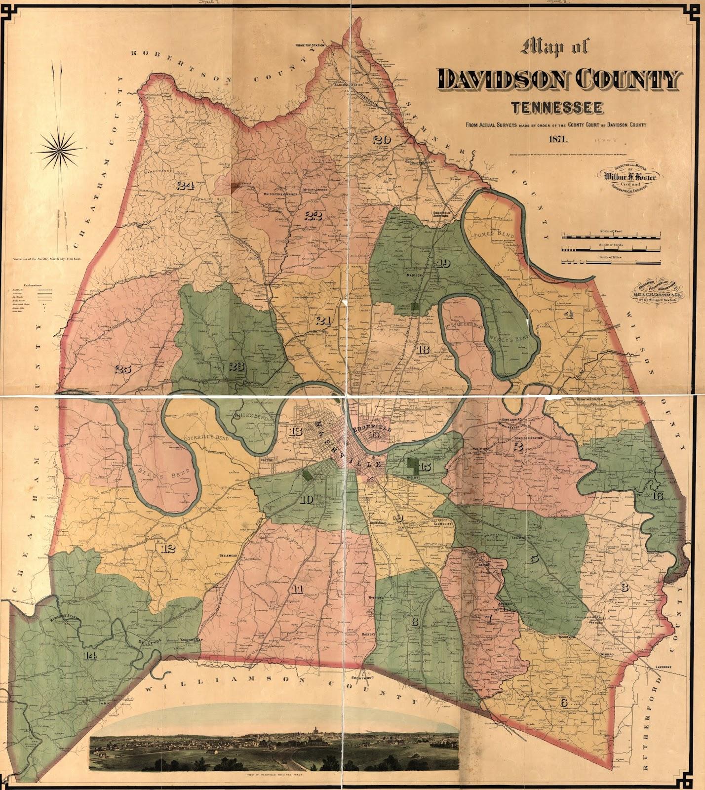 Nashville History Davidson County Tenn Map - Map tenn