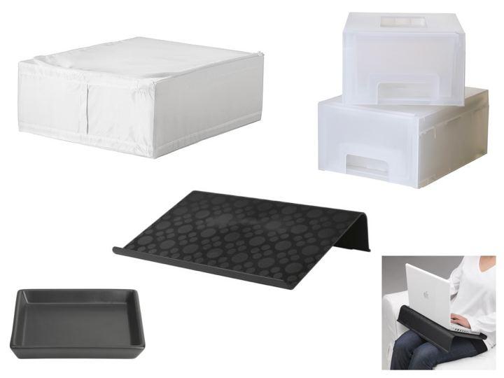 3d656b991 ... bases para velas, um suporte preto para computador portátil, uma  caixa-gaveta para maquilhagem e três sacos organizadores de roupa (imagens  abaixo).