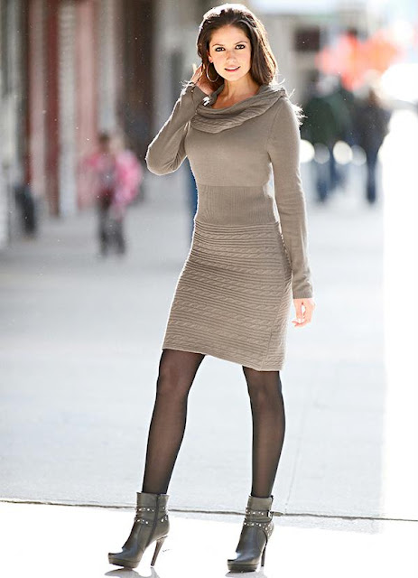Vestido de Tricô Marrom-Acinzentado