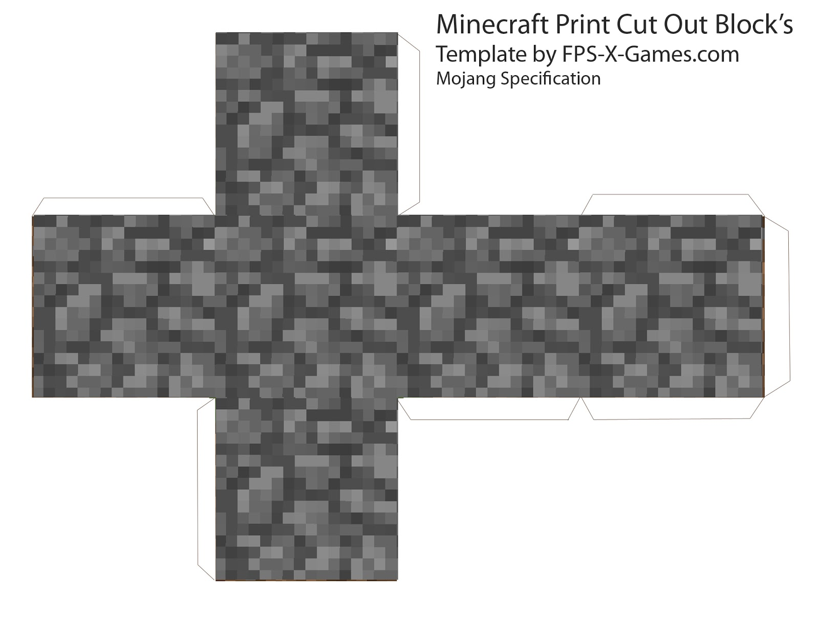Minecraft cobble block papercraft cut out for Minecraft cut out templates