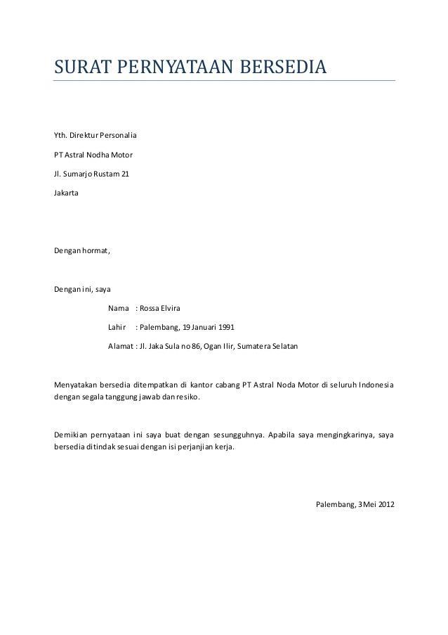 contoh surat pernyataan kerja siap ditempatkan dimana saja