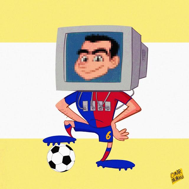 Xavi cartoon Barcelona