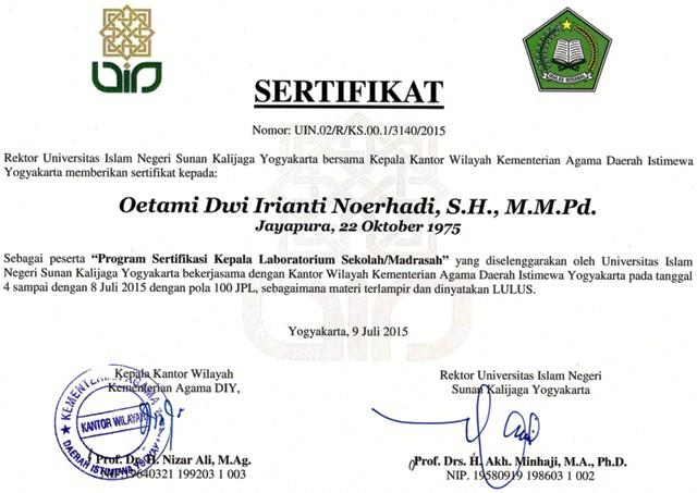 Program Sertifikasi Kepala Laboratorium Sekolah Madrasah Angkatan