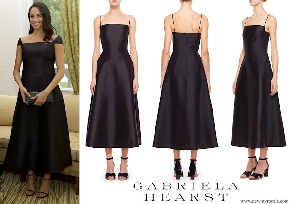 Meghan Markle wore Gabriela Hearst Navy Herve dress with modified cap sleeves