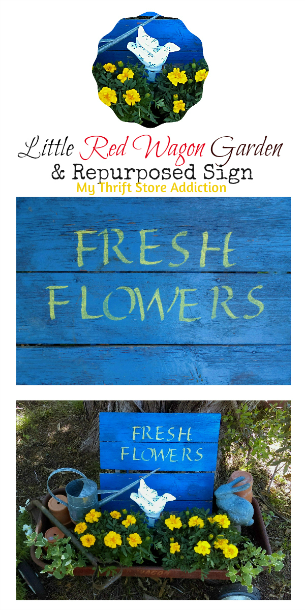Little Red Wagon Garden and Repurposed Sign mythriftstoreaddiction.blogspot.com Stenciled stool recreated as a sign for little red wagon spring garden
