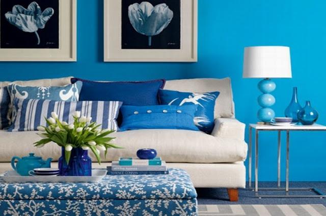 Warna cat biru ruang tamu elegan