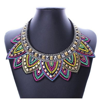 bohemian necklace under $10, boho bib necklace