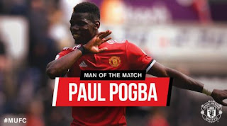 Pogba Man of the Match Swansea City vs Manchester United 0-4