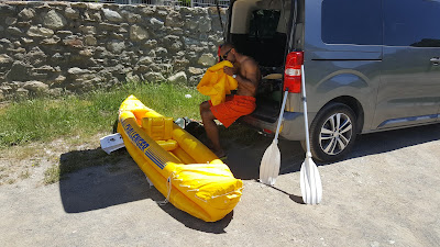 Getting the boat ready. I only did the seats manually, and the boat with a battery-powered pump