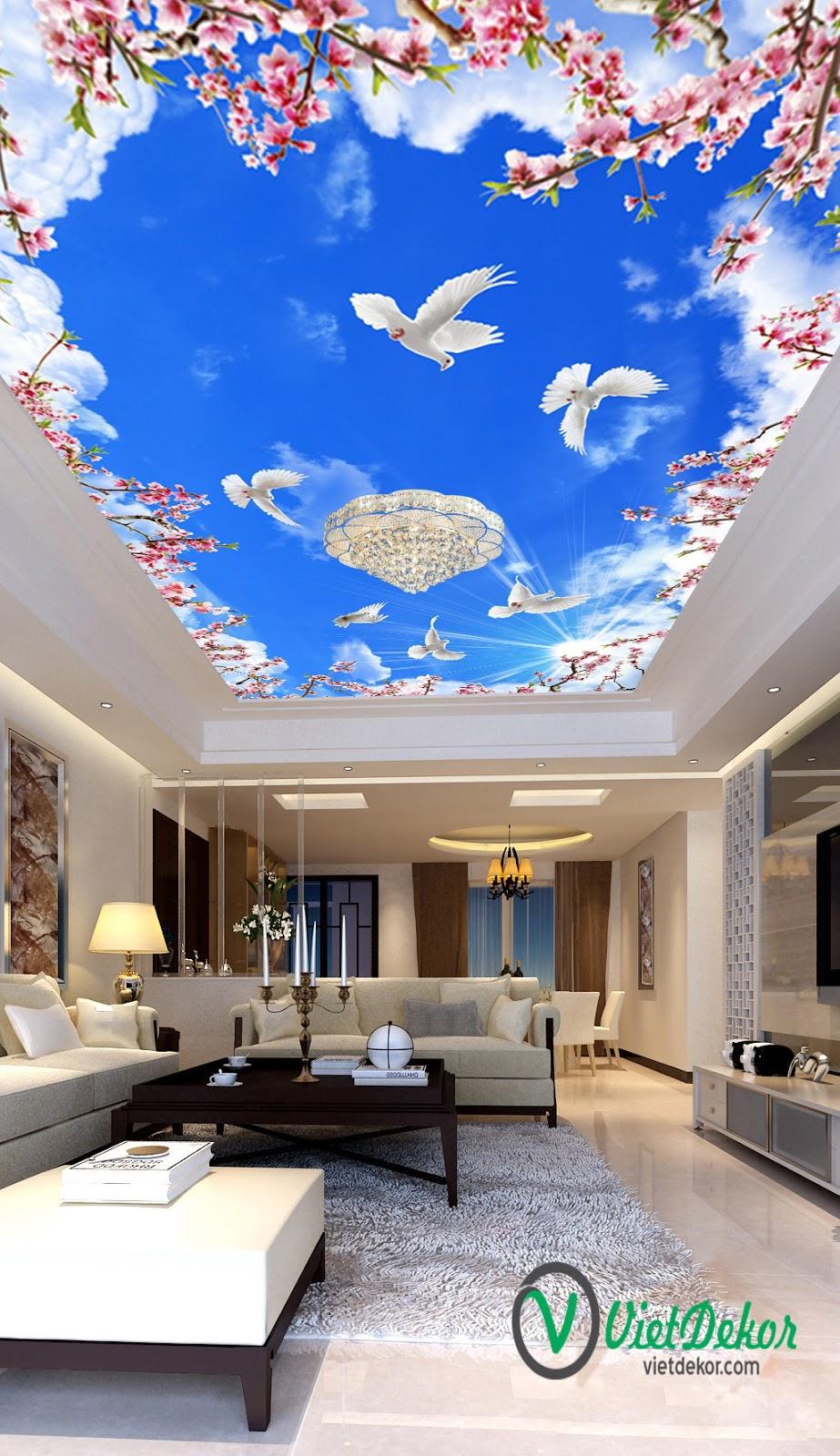 Tranh trần 3d bầu trời xanh mây trắng hoa đào