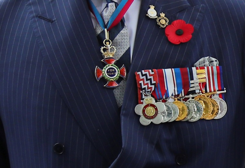A view of Britain's Prince Charles' military medals as he attends a wreath laying ceremony at the Cenotaph war memorial in Singapore October 31, 2017.