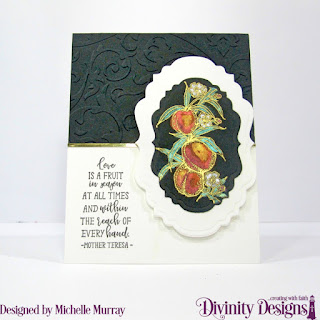 Divinity Designs Stamp: Peach Branch, Custom Dies: Vintage Labels,Embossing Folder: Flourishes