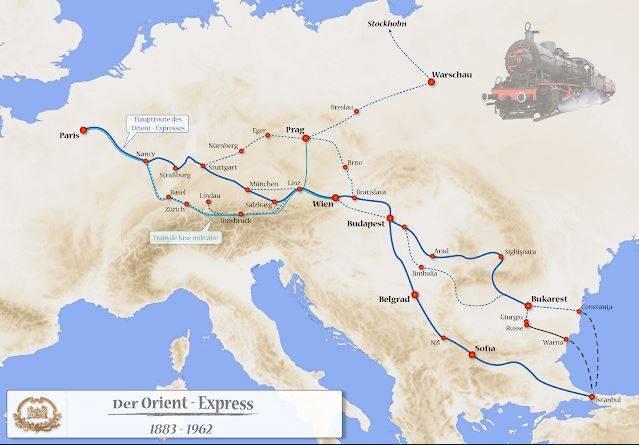 Mappa dell'itinerario dell'Orient Express da Parigi a Istambul
