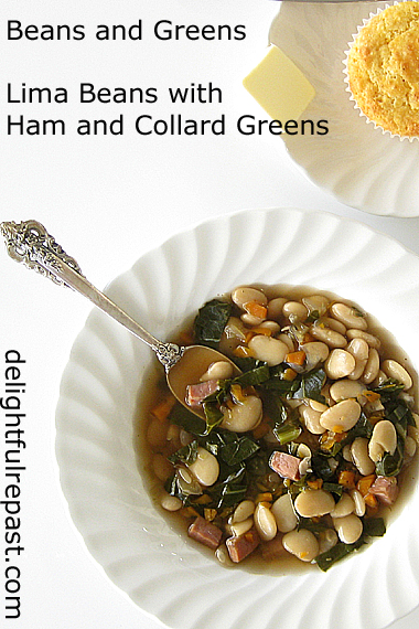 Lima Beans with Ham and Collard Greens - Butter Beans with Ham and Greens / www.delightfulrepast.com