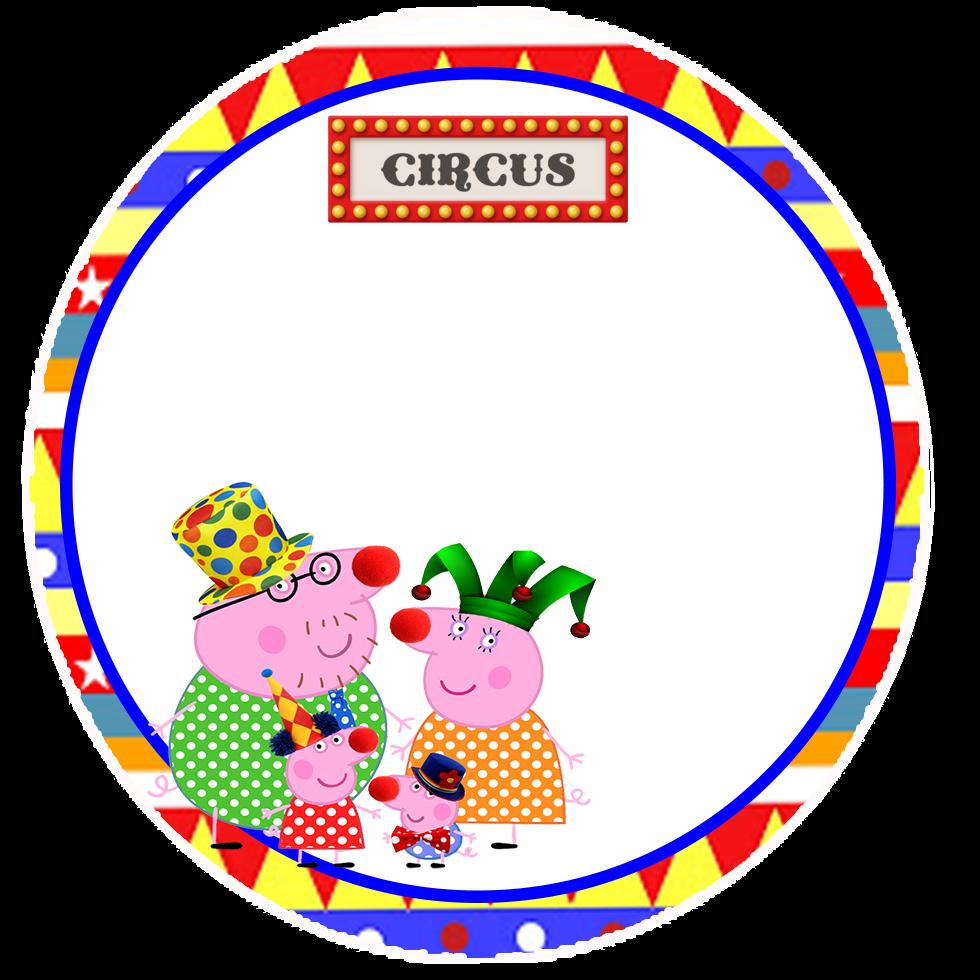Toppers o Etiquetas de Peppa Pig en el Circo para imprimir gratis.
