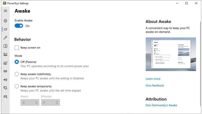 New Awake utility added to Microsoft PowerToys v0.41
