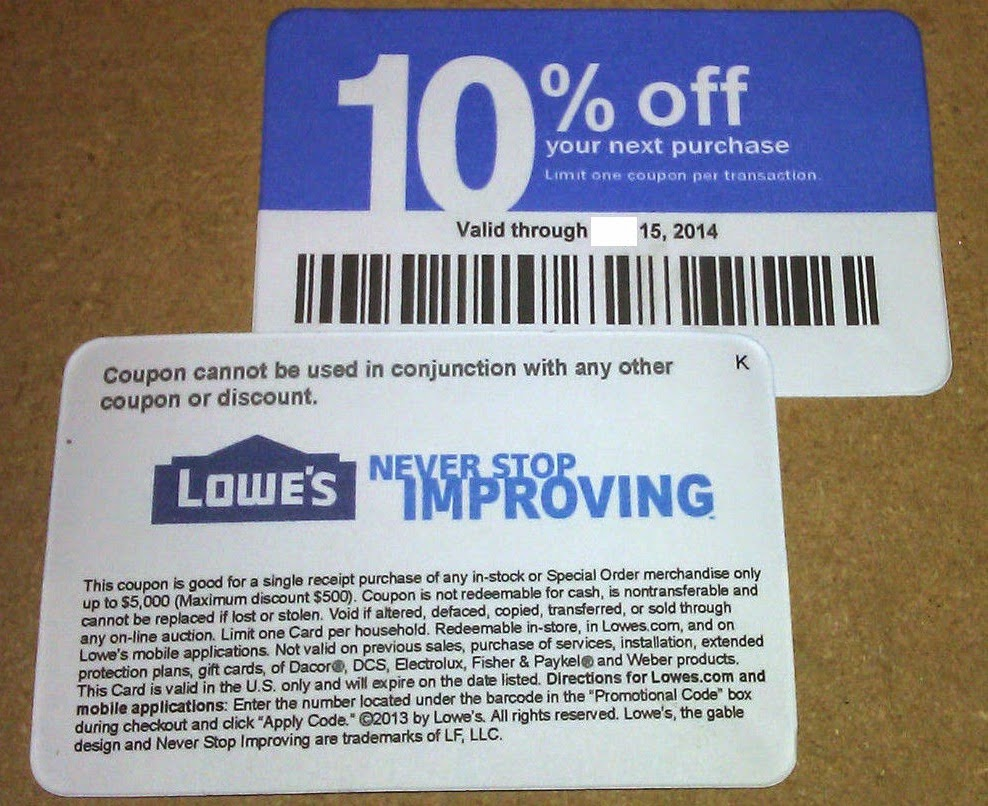 Lowes online Coupon code 10 off store