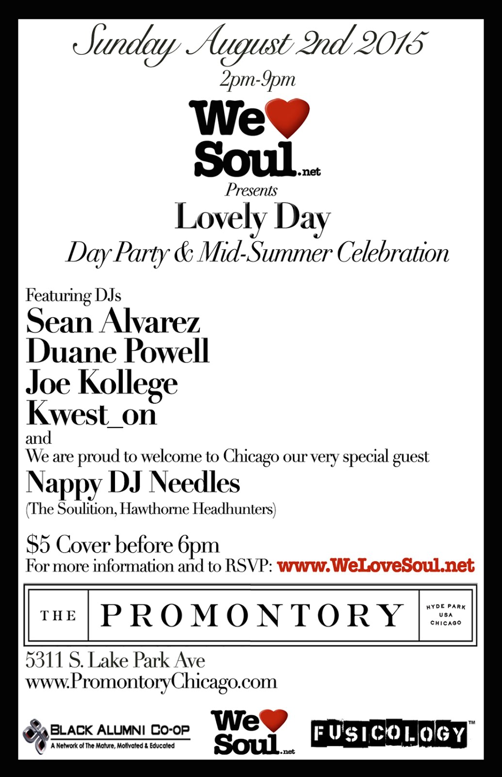 "Sunday 8/2: We Love Soul ""Lovely Day"" Day Party"