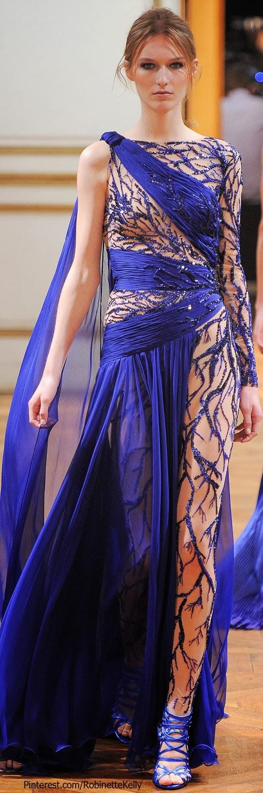 amazing dark blue Zuhair Murad gown, F/W 2013