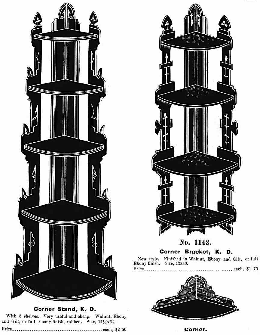 1880 corner shelves advertisement with illustrations and text
