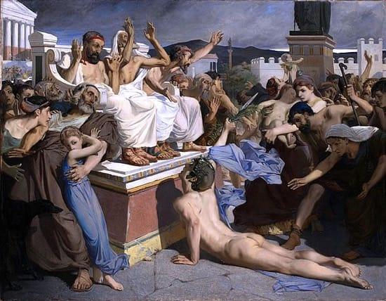 Representación de Filípides llegando a su destino
