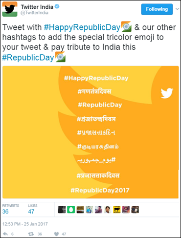 Twitter celebrates the spirit of nationalism with a #RepublicDay emoji on India's 68th R-Day