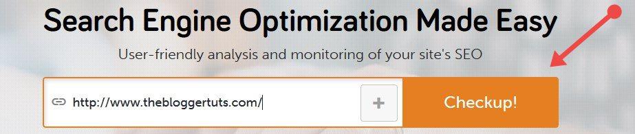 SEO Checkup tool add url and chekup button