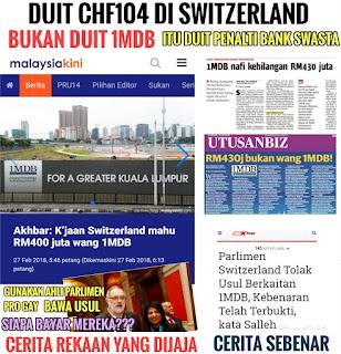 Parlimen Switzerland Sahkan Duit CHF104 Juta Bukan Duit 1MDB