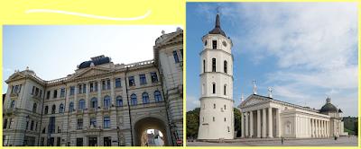 Izquierda: Sociedad Filarmnica de Lituania Derecha: Catedral de Vilna