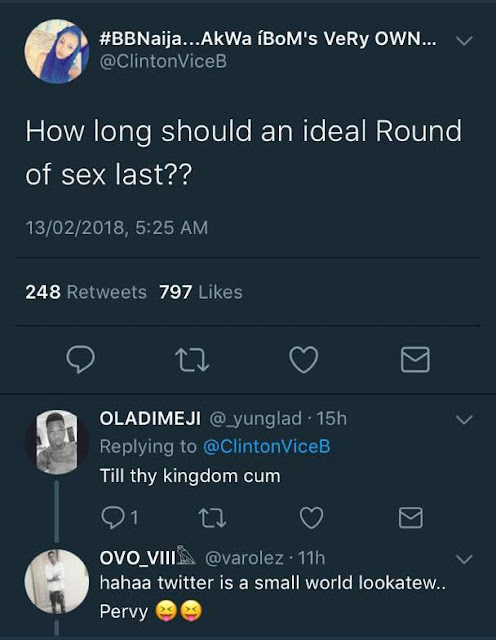 This Twitter user wants to know how long sex should last