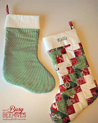 Quilted Christmas Stockings, front and back.