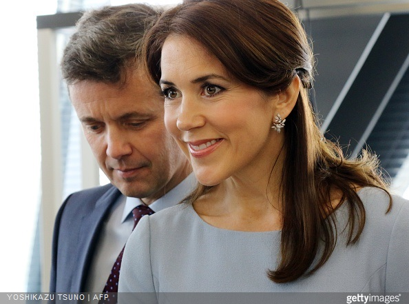 Crown Princess Mary of Denmark and Crown Prince Frederik of Denmark visited a fashion school to observe a workshop for seal skin fashion products in Tokyo