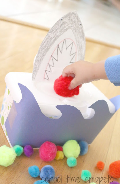 shark fine motor game for toddlers