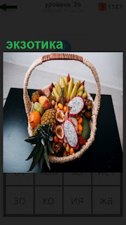 1100 слов на столе стоит корзина с экзотическими фруктами 36 уровень