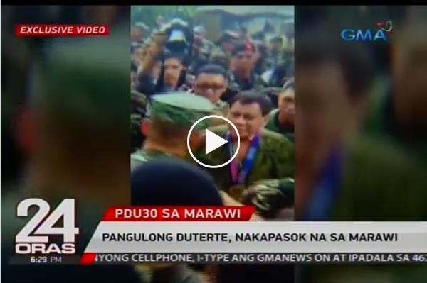JUST IN | Nakapasok na sa Marawi City si Pangulong Duterte.
