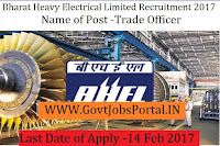 Bharat Heavy Electricals Limited Recruitment 2017 – 267 Trade Officer