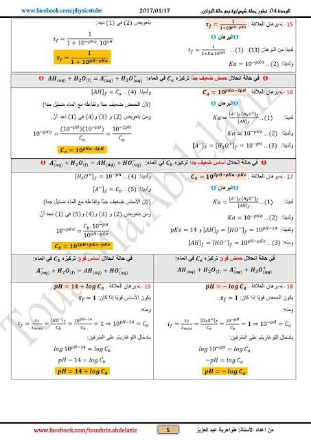 برهان أهم العلاقات الممكن ورودها في الوحدة 4 - فيزياء - من إعداد الأستاذ عبد العزيز طواهرية