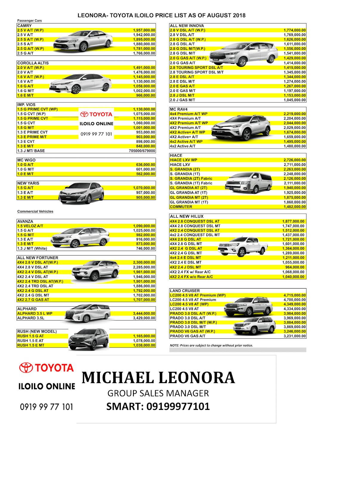 Toyota Iloilo Online By Mr Leonora Toyota Iloilo Latest Pricelist