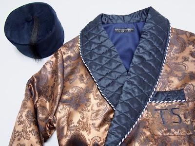 mens english paisley silk dressing gown and gentleman velvet smoking cap