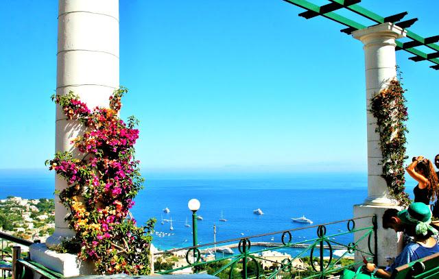 Capri, fiori, terrazza, panorama, turisti, mare, acqua, barche