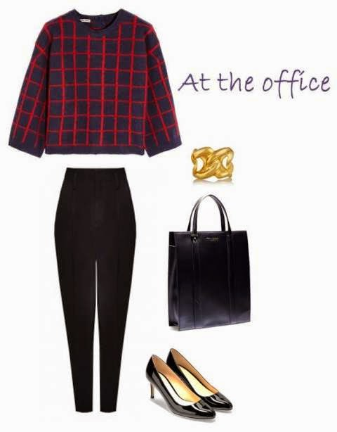 Miu Miu sweater, Alice + Olivia pants, Cole Haan tote, Cole Haan shoes, Gold cuff