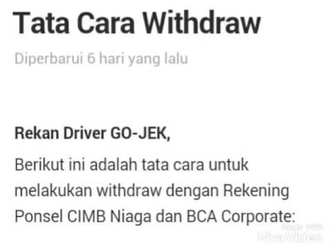 Cara Withdraw Gojek