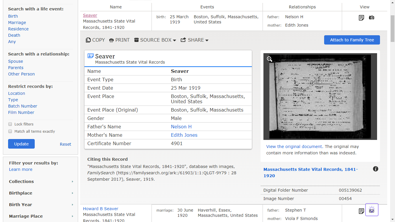 Genea musings mining the massachusetts state vital records 1841 familysearch opens a record summary with a source citation and a record thumbnail image just below the name on the match list aiddatafo Image collections