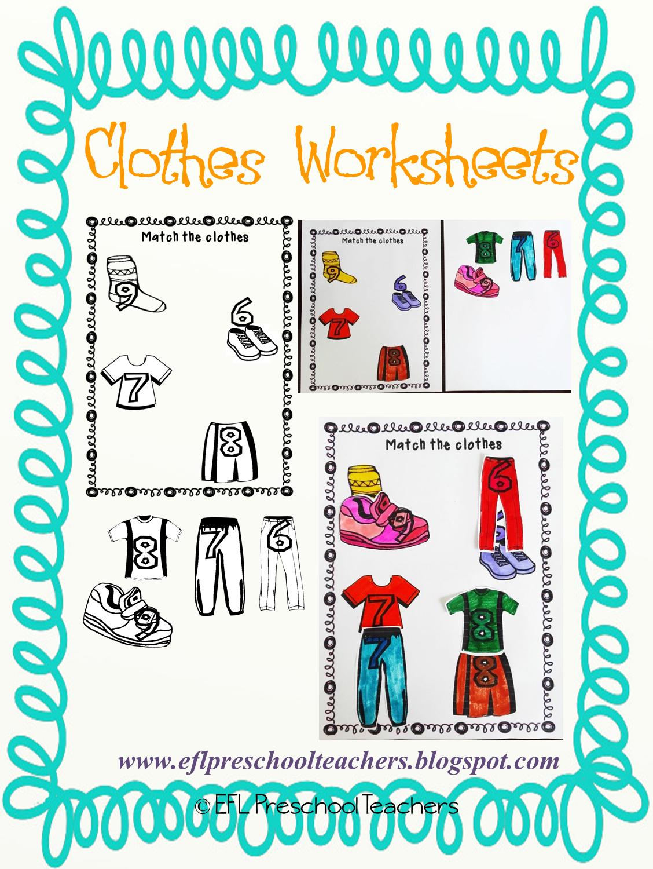 Esl Efl Preschool Teachers Clothes Worksheets