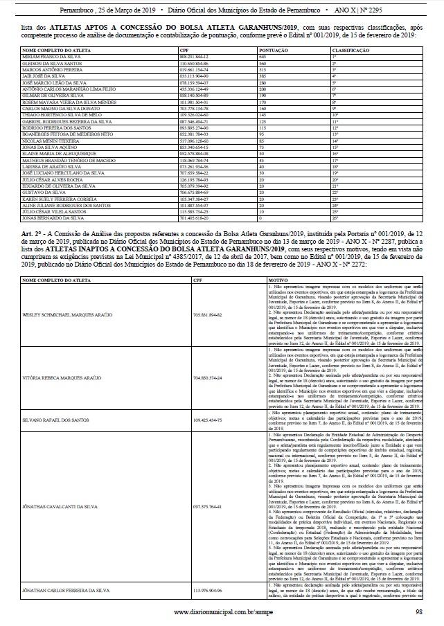 d9deff518 ... regido pela Lei Municipal e pelo Edital publicados no Diário Oficial  dos Municípios e no site da Prefeitura (http   garanhuns.pe.gov.br bolsa- atleta ).