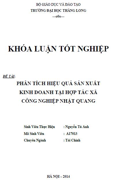 Phân tích hiệu quả sản xuất kinh doanh tại hợp tác xã công nghiệp Nhật Quang