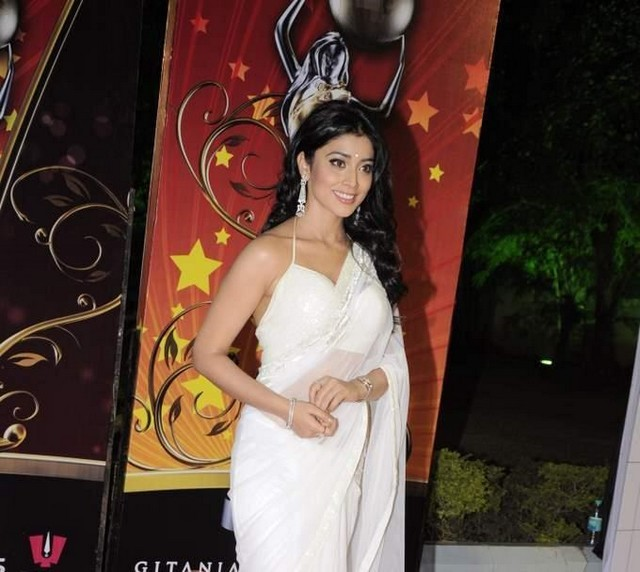 hot celebrities pics bollywood actress shriya saran sexy pics photos in white saree in global indian film awards