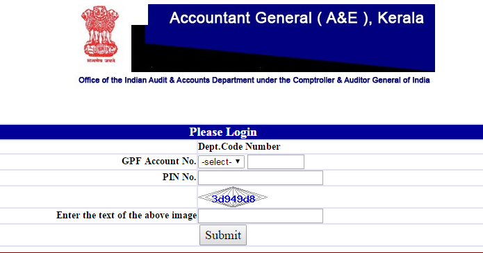 kerala government  gpf credit card or annual account statements 2016