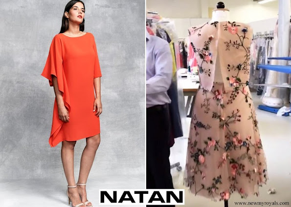 Queen Mathilde wore Natan  floral dress and Natan red dress